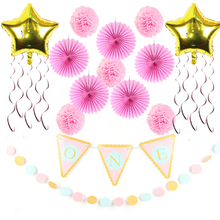 14pcs/set 1st Birthday Girl Party Decorations Pink Theme Baby Shower Supplier Little Girl Party Decoration For Home