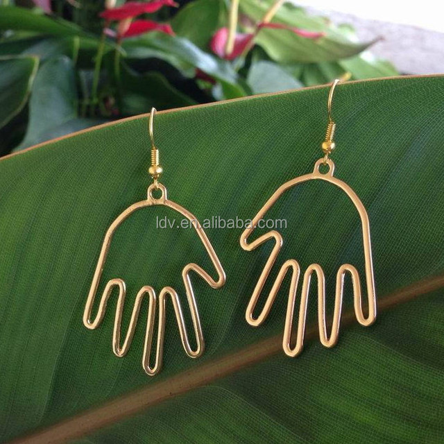 Personalized Jewelry Tiny Helping Gold Hand Wire Earrings Gift For Her