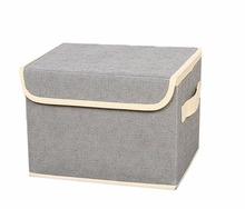 Canvas fabric storage boxes basket with strong cotton rope handle storage boxes with lids