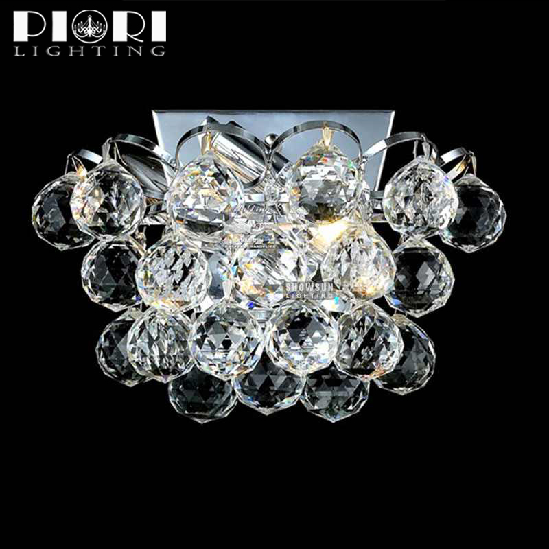Decorative modern glass crystal ball wall lamp for home