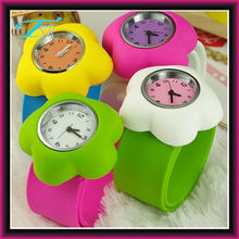 2012 hot silicone band slap flower shape watches for kids
