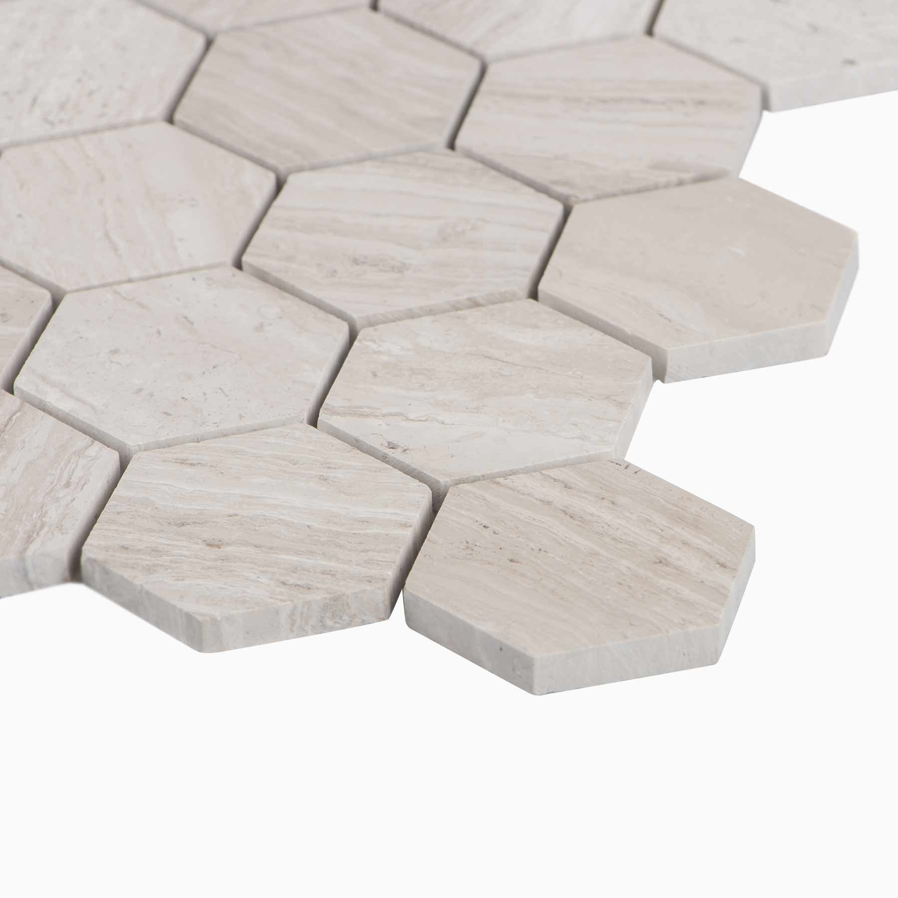 hexagon Mosaic Wall Tile, White Wooden Marble 305*305mm