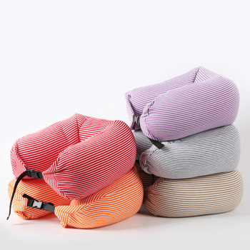 2017 Hot Product 12 Colors Microbeads U Shaped Stripe Transfer Printing Travel Neck Pillows 001
