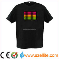 attractivated flashing led panel t-shirt