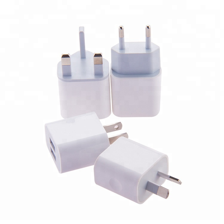 Amazon Hot Sale White Color EU US UK AU Type Double Port Power Adapter 5V 2A Usb Wall Charger For iPhone Android Phones