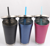 16oz stainless steel straw insulated tumbler with lid