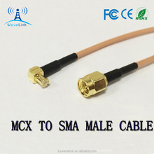 SMA Male To MCX Male Right Angled RG316 Cabo Pigtail Coaxial Cable