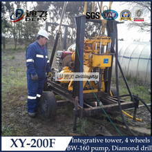200m trailer mounted water well drilling rig equipment XY-200F Borehole Drilling Machine