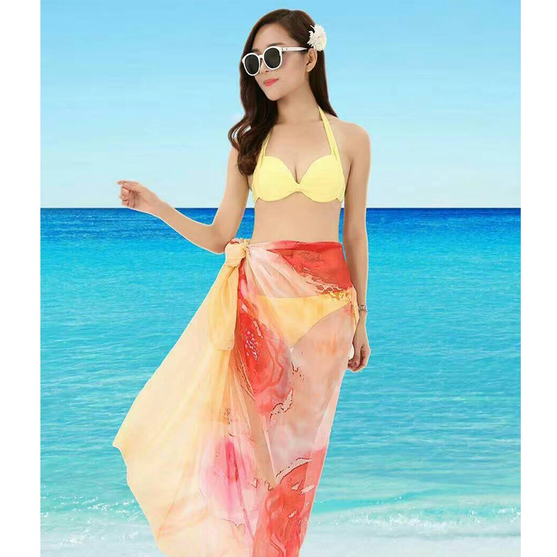 custom logo printed polyester chiffon scarf summer beach sarong scarves and shawls