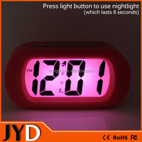 JYD- DAC17 New Easy Setting Silicone Protective Cover Digital Silent LCD Large Screen Desk Bedside Alarm Clock with Snooze