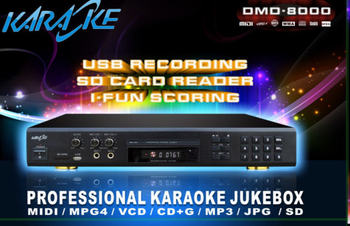 New functions Multi-Format Karaoke DVD Mp4 Divx Player with Inbuilt Recorder+ USB + Wired Digit Microphone (optional)