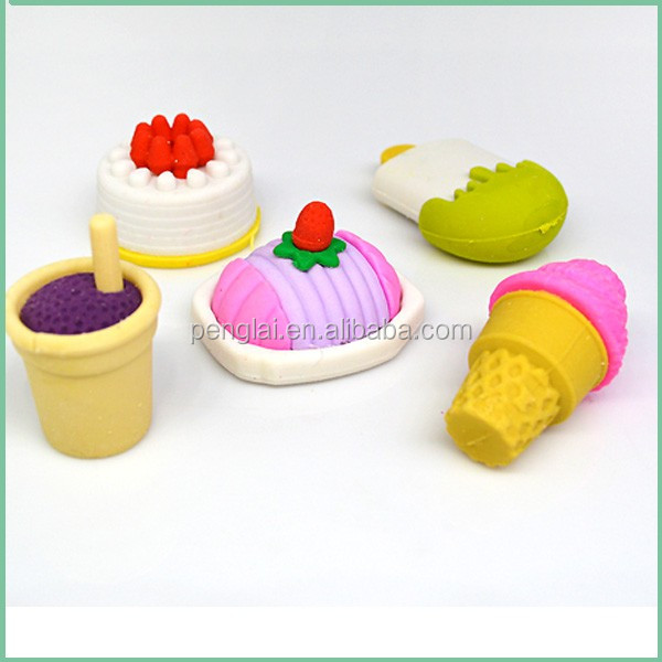 me LOW MOQ hot selling rubber TPR cute 3D cake shaped earser funny erasers set