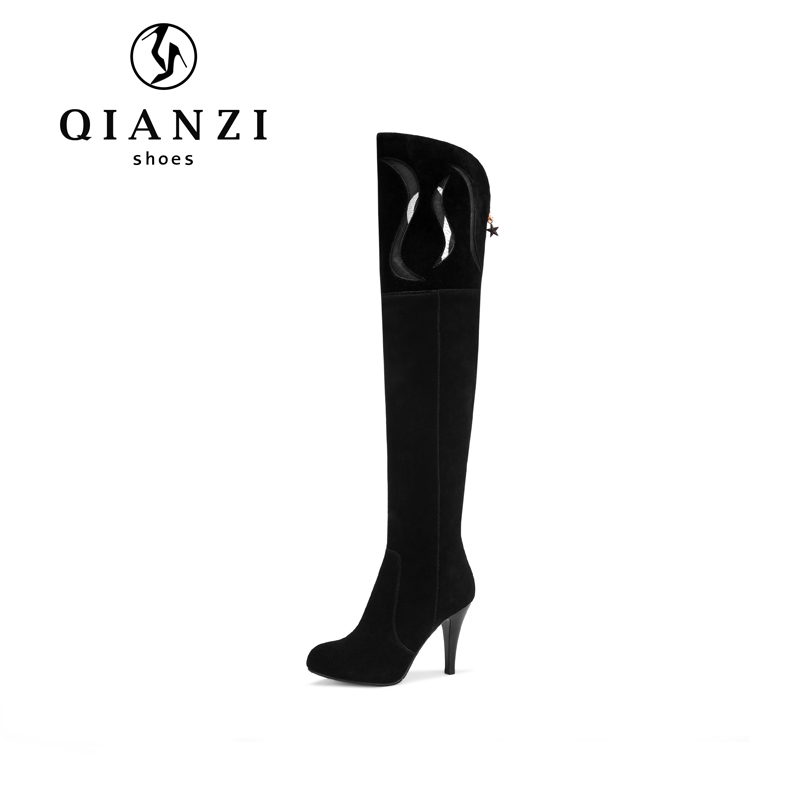 9002 New fashion cow suede leather black knee high boots women shoes 2017