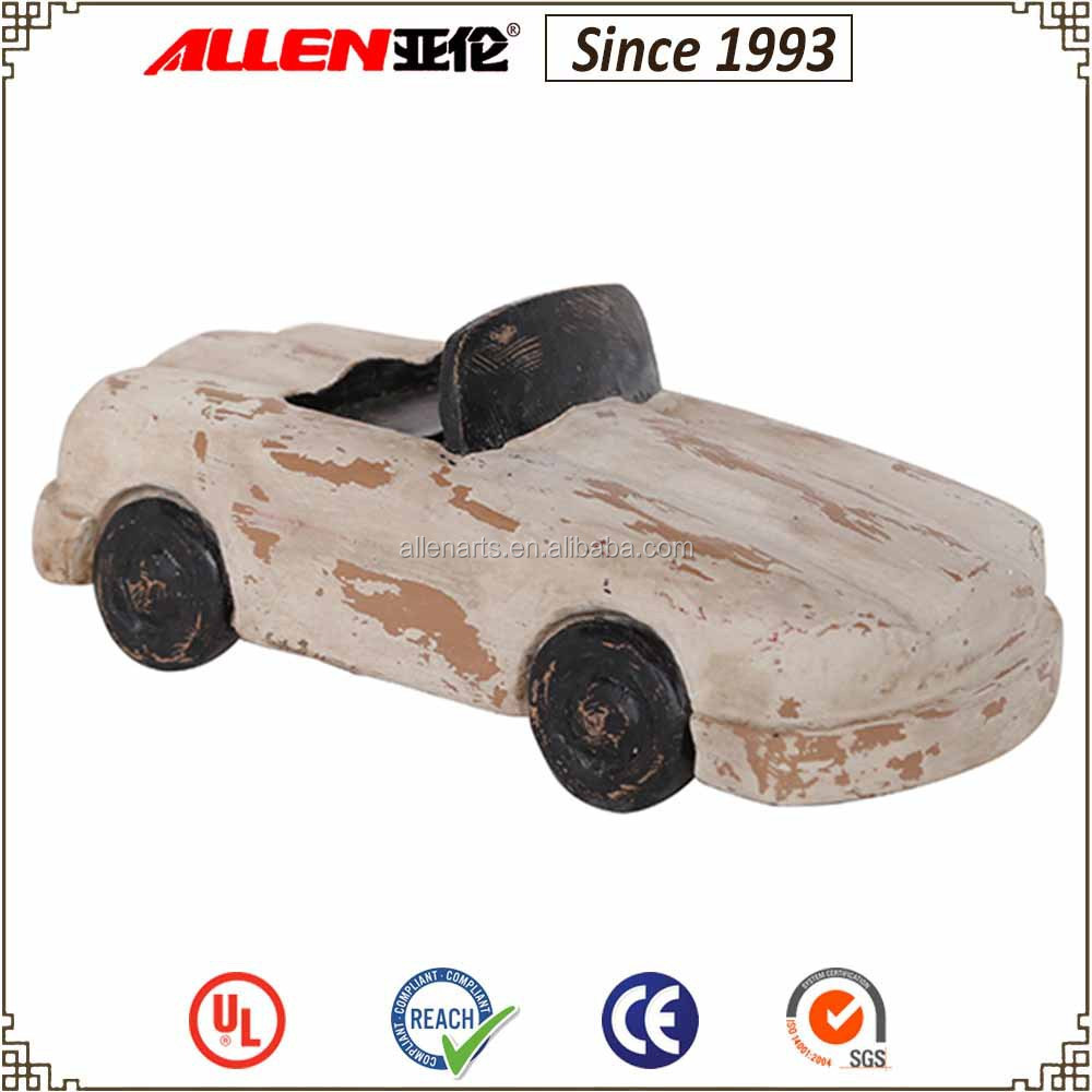 "3.3"" H resin sports car figurine, white antique wood finish sports car statue"
