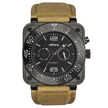 INFANTRY GENUINE LEATHER Black Waterproof fashion Military Quartz men Watch