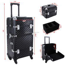 Alumi 2-in-1 Rolling Makeup Train Case Cosmetic Trolley Box with lock, Lift Handle and 4 Wheels