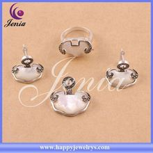 New trendy ring,earring ,pendant design thai silver red agate rani haar jewelry set 0644T1