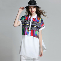 Hot selling crepe baju women casual white blouse designs