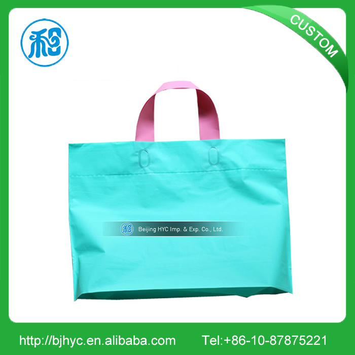 China machine made promotional logo printed shopping plastic tote bags for sale