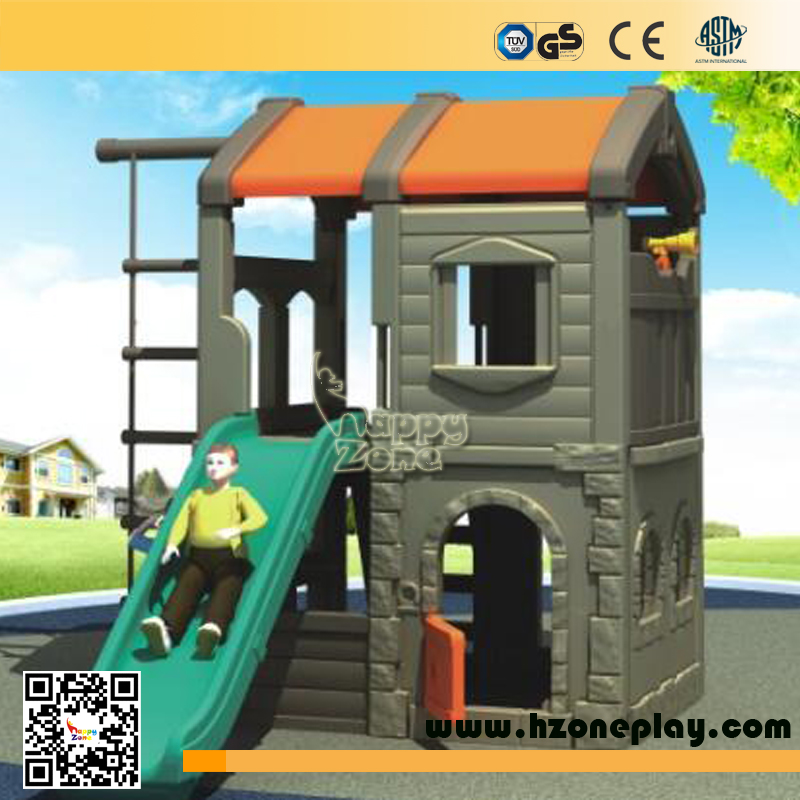Kids plastic house toy with cilmbing and slide swing for indoor or outdoor playground equipment