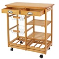 Pine Wood Kitchen Island Trolley Cart Dining Storage Drawers Stand Durable