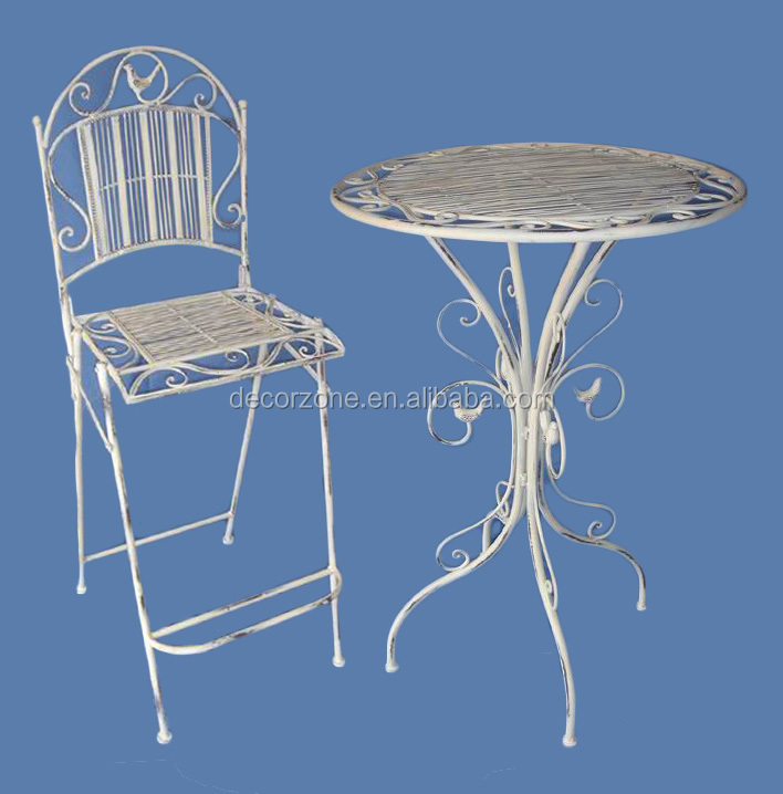 white antique high top bar tables and chairs