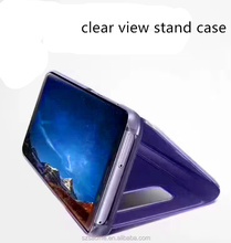 Mirror Smart View Clear Flip Phone Case For Samsung Galaxy S8 Plus Clear View Stand Cover