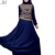 2018 latest design golden lace jalabiya kaftan umbrella flared skirts muslim long sleeve dress abaya with elastic cuff