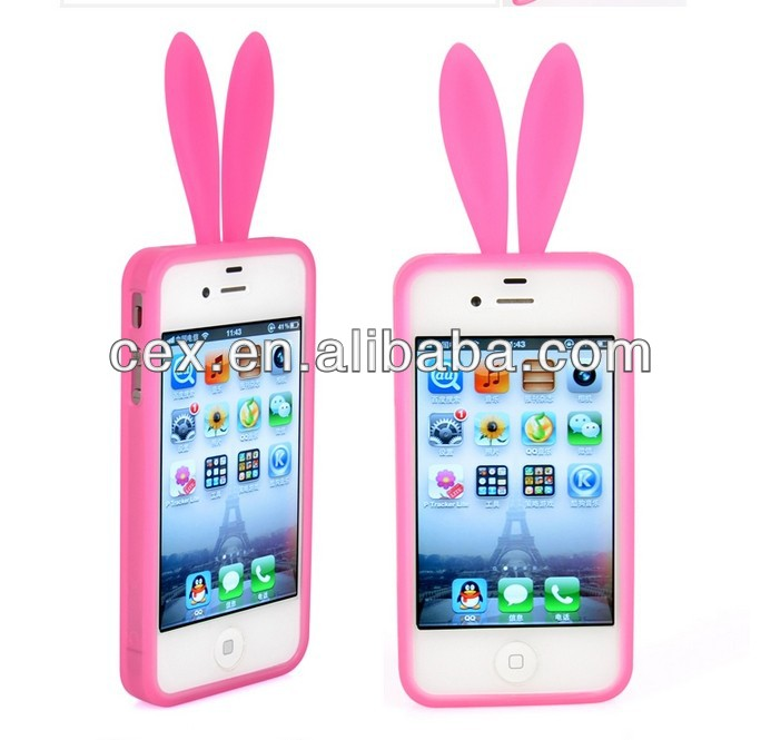 Cute Bunny Rabbit Cover for iPhone 4 4G 4S Silicone Case Skin