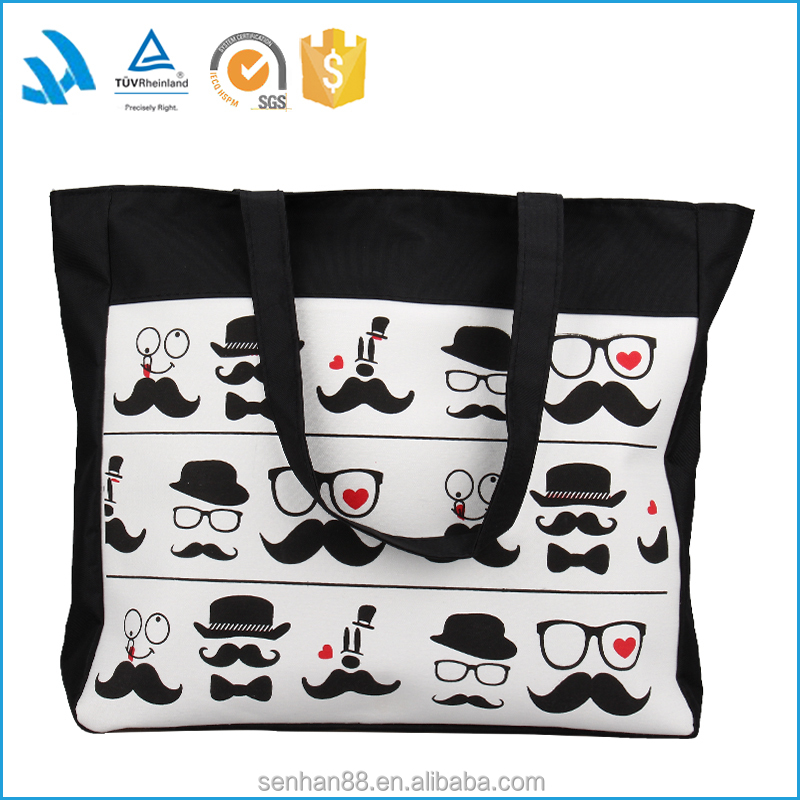 Large black canvas tote bag, shoulder shopping bags wholesale