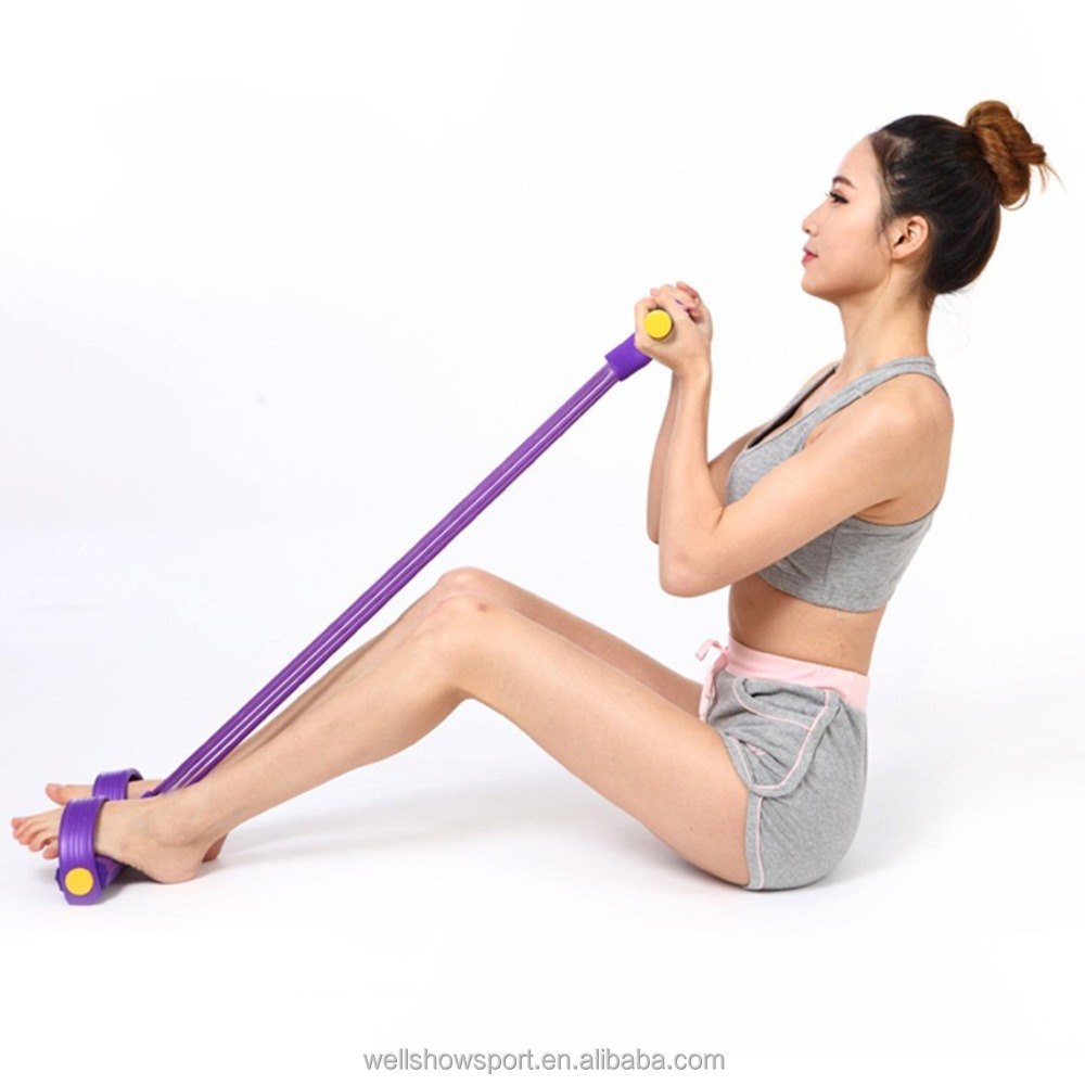 Wellshow Sport Multifunction Leg Exerciser Sit-up Bodybuilding Expander Elastic Pull Rope Training Equipment