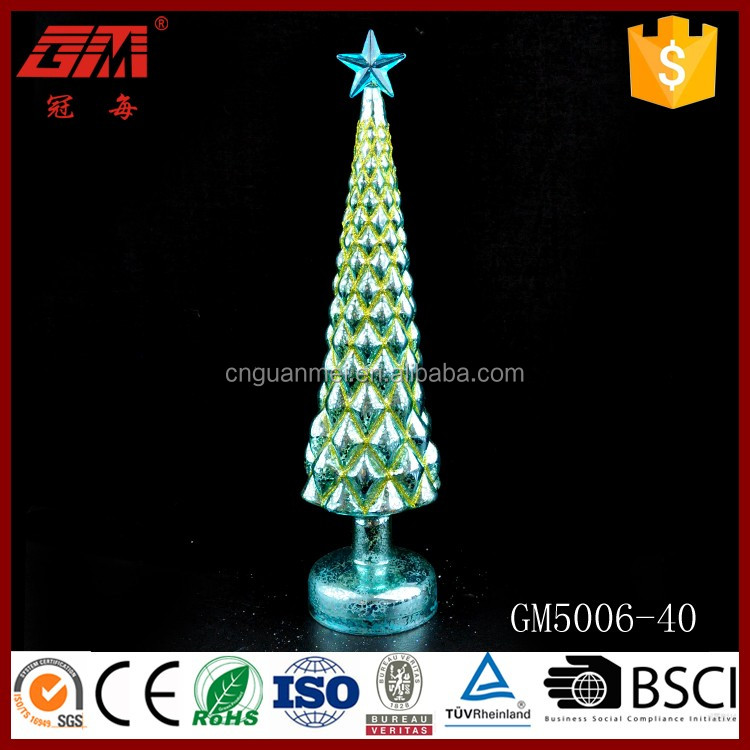Wholesale glass christmas tree led light with star on top