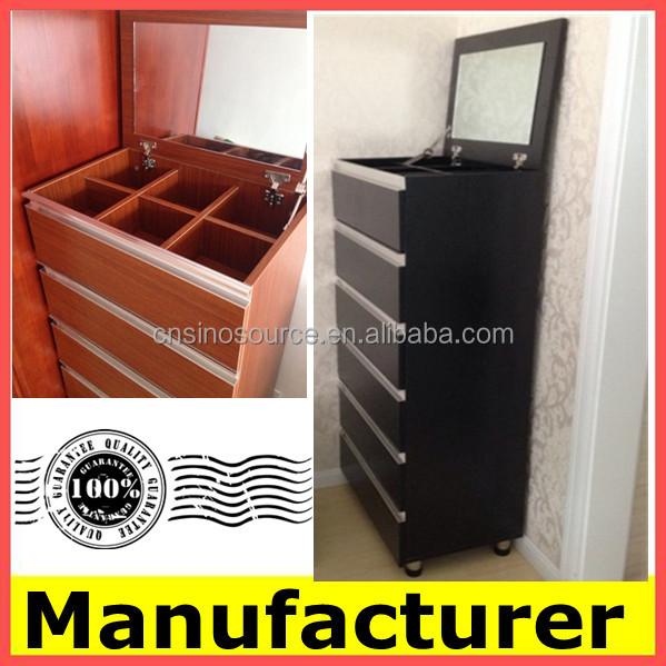 Wholesale Diy KD Wooden Cosmetic Mirror Cabinet With 5 Drawers Chest Price