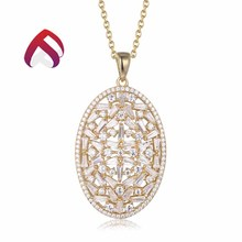 Low MOQ yellow plated valentine jewelry silver pendant necklace
