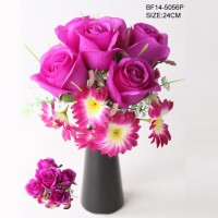 artificial Purple rose heads and daisy bonsai in vase