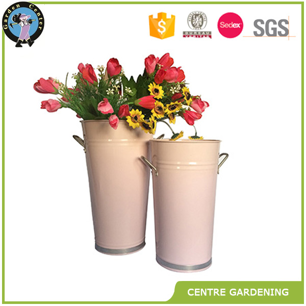 Galvanized zinc flower bucket for decor