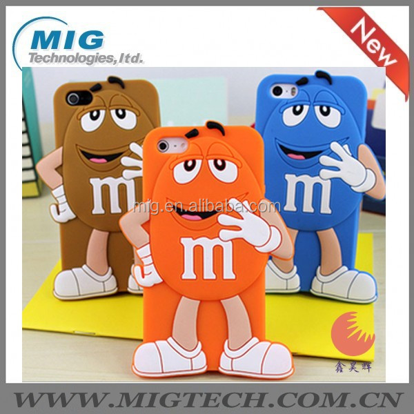 Cute 3D chocolate M&M soft silicone mobile phone cover for iphone 5S, for iphone 5 case with packaging 8 colors China supplier