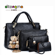 Wholesale High Quality Designer Famous Brands PU Leather 4 PCS Women Bag Handbag With A Bear