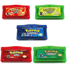 Pokemon Fire Red, Emerald, Leaf Green, Ruby, Sapphire Versions Game Card For Nintendo GBA SP for Gameboy Advance SP Games Card