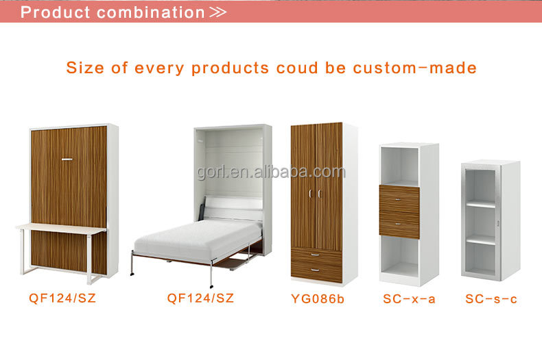 wholesale high quality folding wall bed with dining table,folding bed with stand,wall bed with desk,QF124/SZ,QF154/SZ