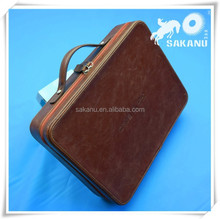 Leather briefcase,zipper attache case with documents holder
