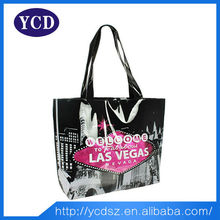 2015 young ladies leather shiny black hand bag