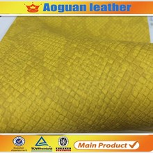 High quality with nonwoven backing pu snake material yangbuck pu synthetic leather for shoes upper A1206