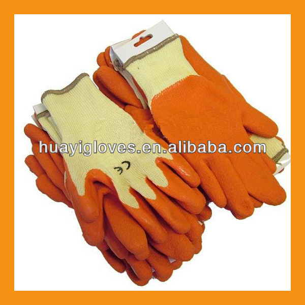 Orange Grip Latex Dipped Cotton Gloves