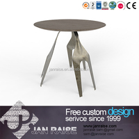 Round side table in metal frame,metal legs side table,wooden top side table