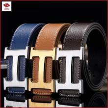 replica designer PU leather men belt with gold silver buckle split leather PU men belt women PU leather belt
