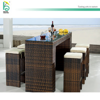 Outdoor rattan furnituer bar sets bar table high table and chair