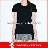 Ladies Promotional Plain 100% Cotton Classic V Neck T shirt
