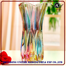 2016 hot selling colorful flower glass vase