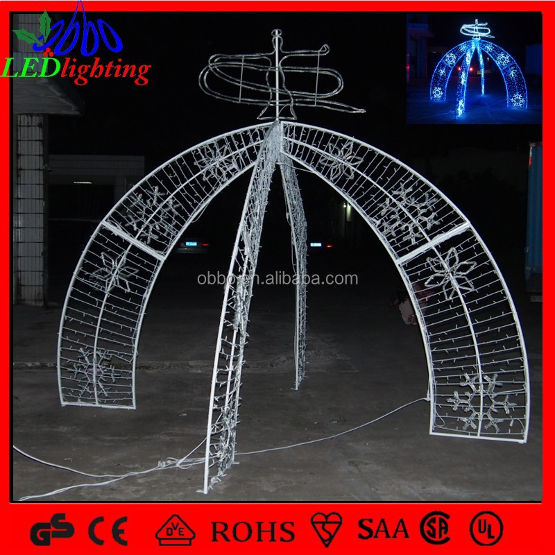 Christmas Decoration Light Steel Arch Door With Snowflake Light